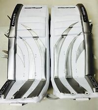 "New Powertek Barikad hockey goalie pads silver/gray 30"" leg ice Int intermediate"