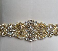 "Wedding Dress Sash Belt - Gold Crystal Pearl Sash Belt = 17 1/4"" long"