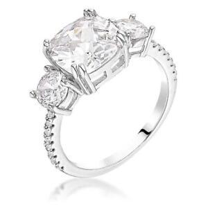 3.65 TCW Triple 3 Stone Cushion Cut CZ Royal Bridal Anniversary Silver Ring Sz 7