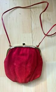 Vintage bag Red Real Suede Shoulder handbag Made in England   70s