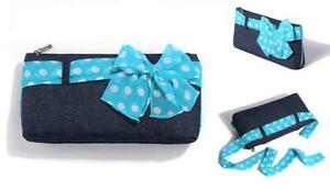 NEW Mary Kay Weekender Denim Blue Polka Dot Makeup Cosmetic Zipper Clutch