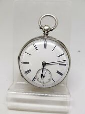 Antique solid silver gents fusee London pocket watch 1874 working ref1222