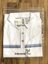 Ashworth EzTec 2 Striped Short Sleeve Golf Polo Shirt Mens Sz M Infinity White