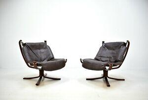 2 x Falcon Chair Sigurd Ressell 60er Leder Palisader Mid Century Vintage Sessel