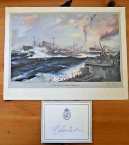 "WW2 Super 1944 Admiralty Calendar Frank H. Mason Print ""The Convoy Gets Through"""