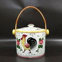 PY UCAGCO Rooster & Roses ICE BUCKET W LID handle, Early Provincial, Japan, VGUC