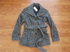 NWT Womens Nicole Miller Twill Black White Pea Coat Coat Size L Large