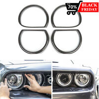 Carbon Fiber Headlight Surrounds Trim Cover Decor Frame For Dodge Challenger 15+