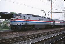 1987 Amtrak GE E60 Engine #604 in Wilmington, DE - Original 35mm Railroad Slide