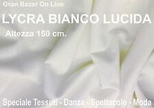 LYCRA TESSUTO BIANCO LUCIDO DANZA SPETTACOLO COSTUME PRONTO MODA  mt.1 x mt.1,5