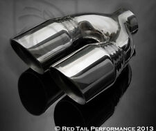 """Dual / Twin 3.5"""" Round Exhaust Muffler Tip Double Walled  7.75"""" width & 2.5"""" ID"""