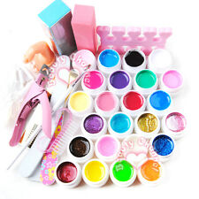 24 Colors Pure Glitter UV Gel Nail Art Form Sticker File Tips Brush Tool Set Kit