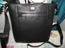 OSPREY LEATHER BLACK MEDIUM CROSS BODY SHOULDER BAG  NWT