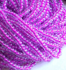 Purple Color Lined Crystal 6/0 Czech Seed Beads, 4mm Preciosa Rocaille Purple