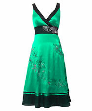 Monsoon LETICIA Size 14 Green Silk Embroidered Ladies Dress Party Wedding