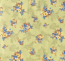 Vintage Floral Cotton Sewing Fabric Olive Green Blue Brown Dressmaking