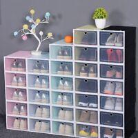 4x Transparent Schuhbox Stapelbar Kunststoff Schuhkarton Schublade Aufbewahrung❤