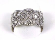 Fine Filigree Cluster Diamond Lady's Fashion Ring Band 14K White Gold 1.20Ct