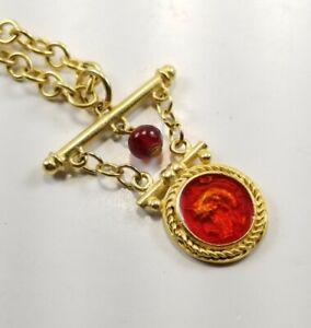 Roman Warrior Red Intaglio Fob Pendant Necklace Matte Goldtone Long Chain Greek