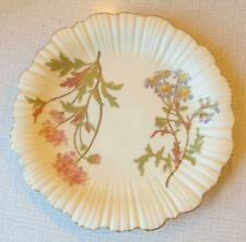 ANTIQUE ROYAL WORCESTER BLUSH IVORY PLATE WITH FLOWERS & GOLD TRIM