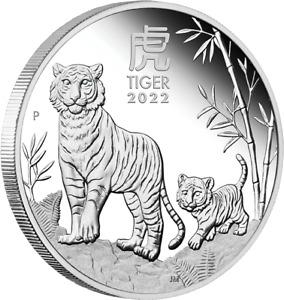 Perth Mint Australien Jahr des Tigers 2022 Lunar III 1 oz 999 Silbermünze PP