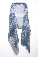 Navy Blue & Off White Pretty Paisley Print Casual Everyday Wrap Scarf (s109)
