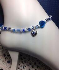 Blue Cat's Eye Stone Heart Czech Ankle Bracelet/Anklet W/Swarovski Elements USA