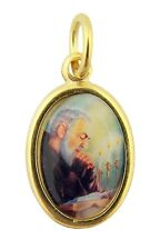 Gold Toned Base with Epoxy Image Catholic Saint Padre Pio Medal Pendant, 1 Inch