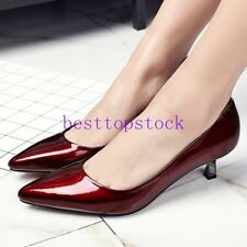 Hot Sale Women Spring Ladies Cow Leather Mid Heel Pointy Toe Dress Shoes Plus Sz