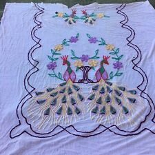 Vintage Cotton Chenille Bedspread Double Peacock Pink Yellow Green Cutter
