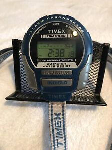 Rare Vintage Timex Triathlon Stopwatch Water Resistant Chronograph Indiglo
