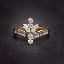 In Fine Hallmark 18K Yellow Gold Pave 0.85 Cts Natural Diamonds Anniversary Ring