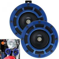 New Pair Blue Super Loud Blast Tone Grille Mount Compact Car Horns 12V 335-400Hz