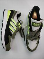 Adidas Mens Size 12.5 Ultra Tech Retro Running BD7937 White Yellow Khaki Olive