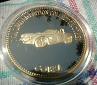 1 OZ LIM ED 999 GOLD PLATED MUSCLE CAR COLLECTORS TOKEN 4.5 CM 57 COBRA