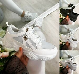 Womens Chunky Lace Up Sneakers Trainers Sports Running Comfy Ladies Shoes Sizes