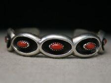 Vintage Native American Navajo Coral Sterling Silver Cuff Bracelet