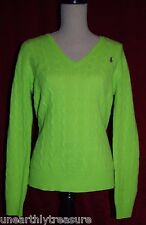 Ralph Lauren Polo Women's L Cable Knit Sweater Green Merino Wool Cashmere V-Neck