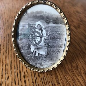 Antique Petite Brass Oval Picture Photo Frame