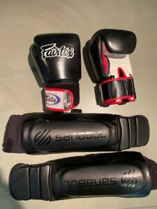 Fairtex Muay Thai Gloves with Sanabul Shin guards