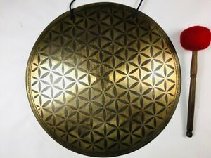 """19 1/2"""" (290hz - G3) Beautiful Nepalese Carved Design Healing Gong - 2.72 KG ॐ"""