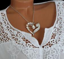 Damen Kette Halskette mit Glitzer Strass Herz Anhänger Brosche Modeschmuck