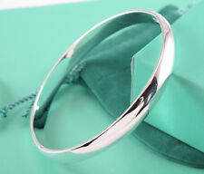 925 Silver Chic Circle Clip Cuff Smooth Plain Bangle Women Bracelets Jewellery