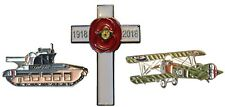 WW1 1918-2018 Cross 100 Yrs Poppy Scorpion Tank Sopwith Camel Aircraft Badge Set