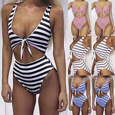 UK Womens High Waist Striped One Piece Bandage Monokini Swimwear Swimsuit Bikini
