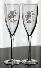 "RARE SET of 2 VINTAGE PERRIER-JOUET HAND PAINTED LOGO 8"" TALL CHAMPAGNE FLUTES"