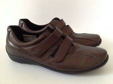 HUSH PUPPIES WOMENS FLAT BROWN LEATHERSHOES WITH DOUBLE STRAPS UK 5 EU 38