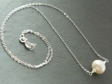 Large Ivory White Banded Baroque Freshwater Pearl & 925 Sterling Silver Necklace