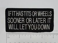 If it has T*TS or wheels.... Outlaw Biker Funny Motorcycle Iron On Small Patch