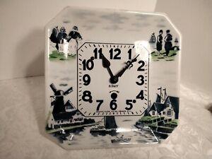 Vintage 8 Day Delft Pattern Newark Clock Company China Clock parts repair K